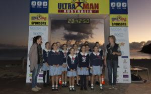 A Noosa School Choir singing Advance Australia Fair at the start of Ultraman