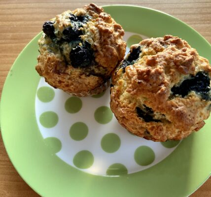 Greek Yogurt Blueberry Muffins (Low Sugar Recipe)